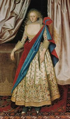 Isabella Rich was painted by William Larkin between 1614 and 1616. Check out her shoes