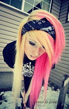 emo scene hot pink hair