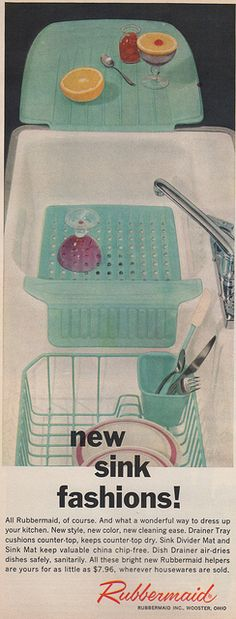 1959 ad for Rubbermaid kitchen sink pads and drainrack in turquoise. 1959.