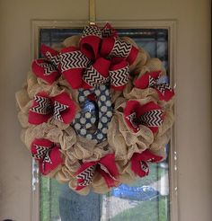 Red and Chevron Burlap Deco Mesh Wreath with Initial