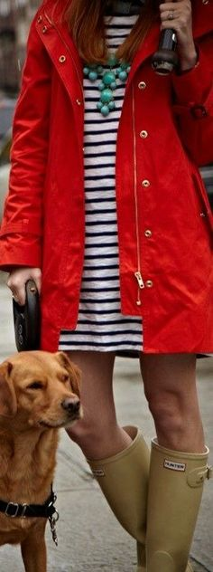 . jacket, red raincoat, classy southern style, boot, red rain coat, cloth, dress, outfit, stripe