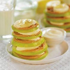 Apple, banana & peanut butter stacks