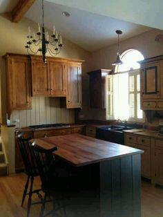 ; chair, kitchen idea, countri kitchen, primitive kitchen cabinets, primit kitchen, kitchen islands, wood countertop, country style kitchen island, dream kitchens