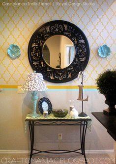 Casablanca Trellis Moroccan Stencil mirror, casablanca trelli, idea, color, trellis, moroccan stencil, hous, trelli moroccan, stencils