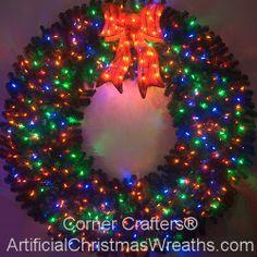 6 Foot (72 inch) Color Changing L.E.D. Prelit Christmas Wreath - #ArtificialChristmasWreaths #ChristmasWreaths #Wreaths #PrelitWreaths #LargeWreaths #multicolorwreaths