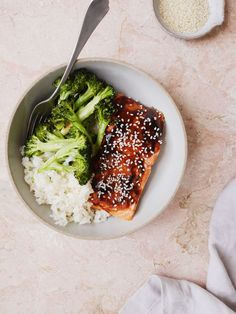 Hoisin-Glazed Salmon with Broccoli and Sesame Rice Vertical
