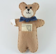 Pocket Bear Tooth Fairy Pillow by littlebits101 on Etsy, $4.50