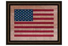 American Flag On Antique Burlap on OneKingsLane.com