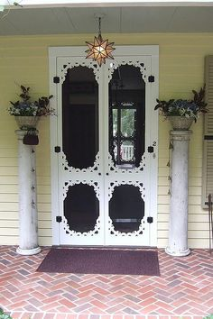 screendoor, plant stand, awesom doubl, vintage screen door, column, back porches, doubl screen, screen doors, screened porches
