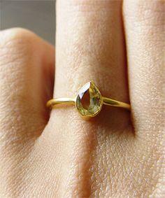 citrine teardrop ring