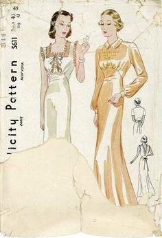 Simplicity S611 Misses 1930s Nightgown Pattern Art by CynicalGirl, $68.00