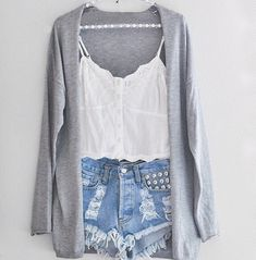 Grey cardigan, high-waisted studded shorts, and white cami.