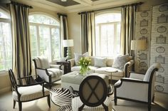 Gray white and black living room Erika Bonnell interior design, furniture arrangement, living rooms, interiors, living room designs, interiordesign, window treatments, live room, walking sticks