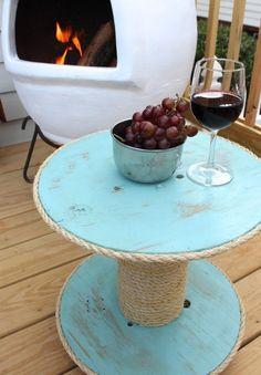 DIY Nautical Spool Side Table