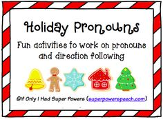 Adorable holiday pronouns activity to work on pronouns and direction following! $