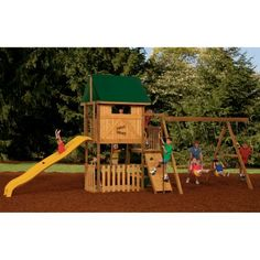 PlayStar Playsets Great Escape Wood Swing Set with Giant Scoop Slide