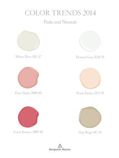 Pinks and neutrals, part of Benjamin Moore Color Trends 2014 palette.