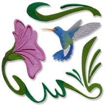 New hummingbird and dragonfly machine embroidery designs! Very cool!