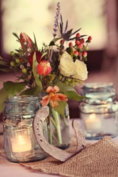 Flowers, mason jars, horseshoe #country #western #wedding #ideas … Wedding ideas for brides, grooms, parents & planners https://itunes.apple.com/us/app/the-gold-wedding-planner/id498112599?ls=1=8 … plus how to organise an entire wedding, without overspending. http://pinterest.com/groomsandbrides/boards/ ♥ The Gold Wedding Planner iPhone #App ♥ For more boards #wedding #ceremony #reception #rustic #country #bride #bridesmaids #groom #invitations #bouquets #western #tables #cake #favors #white