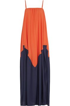 Halston Heritage | Two-tone georgette maxi dress | NET-A-PORTER.COM maxi dresses, fashion, style, colorblock maxi, heritagetwoton georgett, maxis, maxidress, halston heritagetwoton, georgett maxi