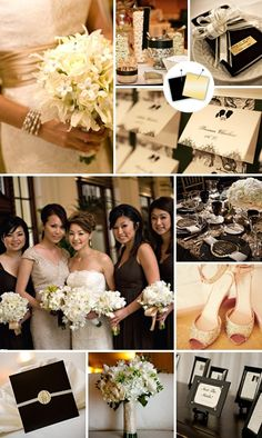 black ivory champagne color scheme | wedding color combo: black and champagne by AllyKid76