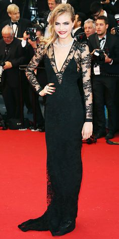 Cara Delevingne in black Burberry and Chopard jewellery in Cannes 2013