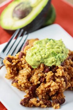 Use GF broth! Rice and Bean Casserole with Guacamole