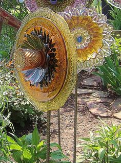 Artisan In The Garden Golden Glass Plate Flower by jarmfarm
