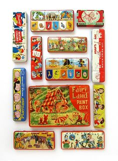 Water color paint boxes color, collage art, vintage tins, boxes, vintage metal, brush, paints, old tins, kid