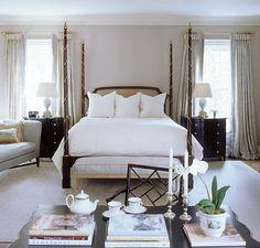 interior, bedroom dream, guest bedrooms, tan bedroom, master suite, master bedrooms, white bedding, four poster beds, suzann kasler