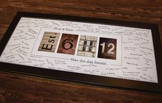 Personalized, Framed 'Guest  Book' Signature Print - Number Photography, Est. Wedding Date Print, Alternative Guest Book Idea. $69.95, via Etsy.