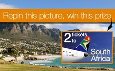Dreaming of a trip to South Africa? Make it happen! All you have to do is follow http://pinterest.com/flysaa/ on Pinterest and repin this photo for a chance to win 2 tickets to South Africa. 300 repins are required to unlock this prize. Happy pinning! More prizes here: http://pinterest.com/flysaa/repin-your-way-to-south-africa/. Official Rules: http://www.flysaa.com/cms/US/repinyourwaytosouthafrica.html. Enter by June 29.