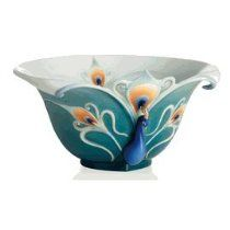 Franz Porcelain Peacock Splendor decorative bowl - Cost $205.00  -  please click image for more info...