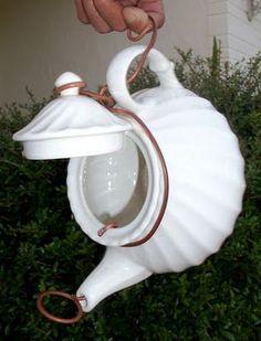 DIY*teapot | http://awesome-beautiful-bird-of-paradise.blogspot.com birdhouses, bird feeders, coffee, diyteapot birdhous, rain chains, gardening with teapots, birds, teapot birdhouse, diy bird houses