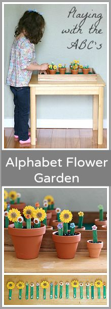 Great way to practice letter recognition and letter sounds! Each flower has a different letter that's revealed when the flower is 'picked'! (Spring Activities for Kids: An Alphabet Flower Garden~ Buggy and Buddy)
