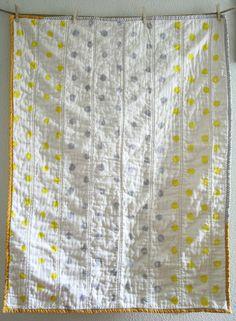 yellow & gray polka dot quilt