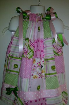 John Deere All Over Print  Pink Pillow Case Dress by Grannyzann, $26.00