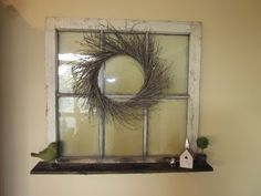 "I have three windows that are propped up against my walls, doing nothing - adding a quick shelf to the bottom of these is a great idea. I'll more than likely litter the shelves with wine bottle art...great technique for ""vintaging"" wood with steel wool and vinegar, too"