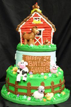 66 Farm Animal Themed Birthday Cake With Top Tier Barn Cake