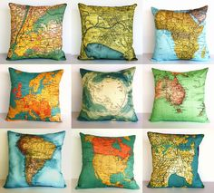 Fabric printed map cushion covers, here I come, silk do you think or cotton?