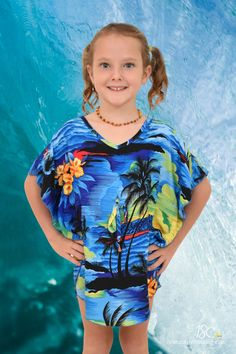 Pretty Blue Sunset Girls Kaftan. Sweet outfit for a beach day, cruise, family event, fancy dress or luau! Also exact matching kaftans for mummy available. Mens & Kids shirts #matchymatchy #mummyandme #mommyandme #hawaiiandress #islandstylelclothing #bluesunset #lgirlskaftan #motherdaughtermatching #momandme #cruisewearoutfit #sunsetprint #beachwear #sunsetdress #luau #luaupartydress #beachcoverup #coverup #kaftan #poncho #girlsponcho #girlskaftan #familymatching