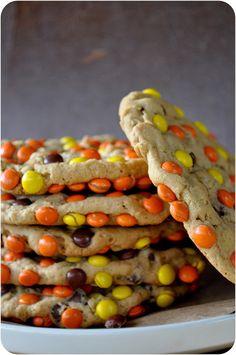Peanut Butter Monster Cookies. #food #Halloween #cookies