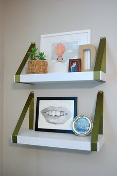 DIY ribbon shelves ribbon shelves, floating shelves, bedroom idea, craft, living rooms, hous idea, diy ribbon, living room shelves, room diy