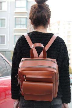 Handmade Genuine Leather Backpack / Satchel / Day Pack / Traveling Bag