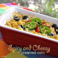 Spicy and Cheesy Creamed Corn is the perfect side dish to a Mexican meal, or just about meal, really.