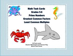This is a great way to offer your class practice and review.  The collection includes 36 task cards that review prime numbers,the least common multiple, and the greatest common factor. There are 36 cards, student worksheet and an answer key included. Task cards are great practice for students who might need extra drill or for those early finishers that you want to provide with a meaningful review. Extra packs of cards could be given to students for individualized homework assignments.