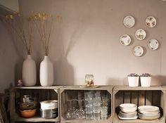 Kitchen storage made from crates.  By Sobinique.  #kitchen #storage #shelf #crate