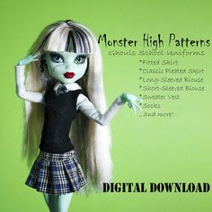 Monster High clothing patterns by DGRequiem on etsy