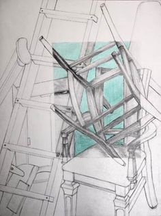 Chair Drawing contour drawing added value w/ pencil colored neg space to create focal point