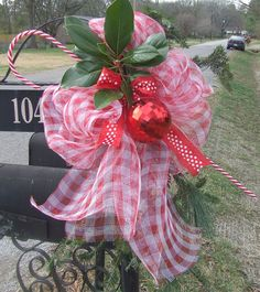 Red & White Gingham Deco Mesh, Red Ornament, and Candy Cane with Greenery - Christmas Mailbox